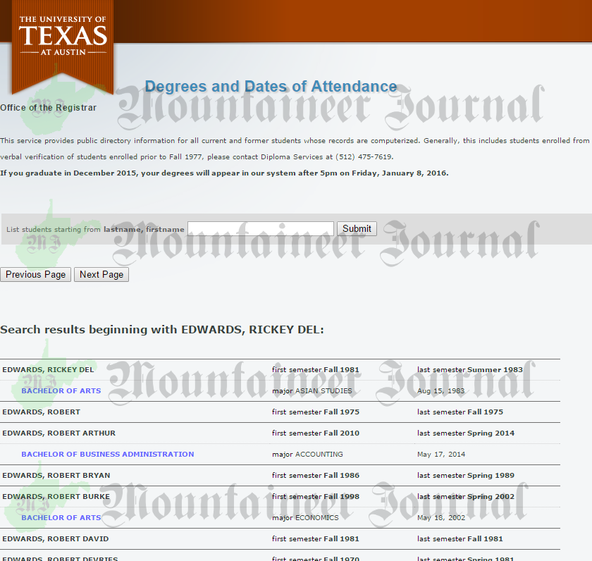 Texas University Richard Rick Edwards