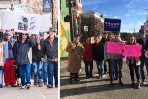 Left: Trump protesters (Image © Record Delta)  Right: Trump supporters (Image © Patty Adams)