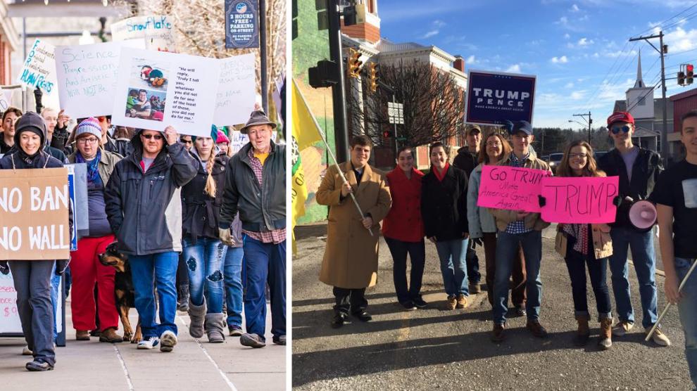 Left: Trump protesters (Image © Record Delta)  Right: Trump supporters (Image © Patty Adams)
